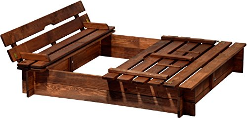 Sandkasten Holz mit Deckel mit Sitzbank von Dobar 94360FSC