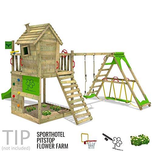 FATMOOSE Spielturm HappyHome Hot XXL Stelzenhaus Baumhaus Klettergerüst mit Schaukel, Surfanbau und Rutsche - 4