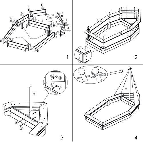 Sandkasten Schiff aus Holz von Dobar 94600FSC - 11