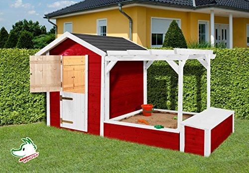 Sandkasten mit Spielhaus von weka 818 rot/weiss