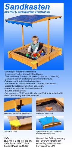 sandkasten-mit-verstellbarem-dach-inkl-bodenplane-sitzecken-und-lasur-2