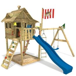 wickey-spielturm-monkey-island-kinder-spielhaus-schaukel-sandkasten-blaue-rutsche-wikinger-fahne-1