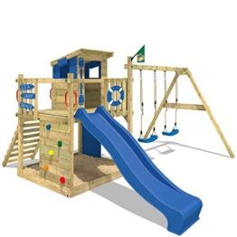 wickey-stelzenhaus-smart-camp-holzspielhaus-spielturm-kletterturm-mit-schraegem-holzdach-doppelschaukel-sandkasten-kletterwand-blaue-plane-blaue-rutsche-1